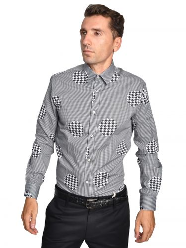 Papilio Garamas check shirt PGMP-105 grey-black