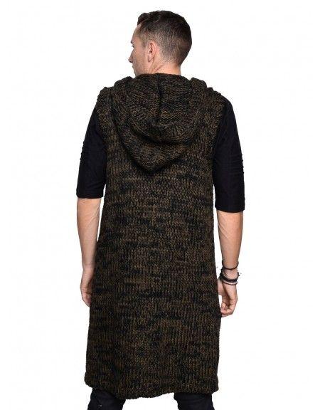 I'M BRIAN sleeveless cardigan MA80/312 khaki-black