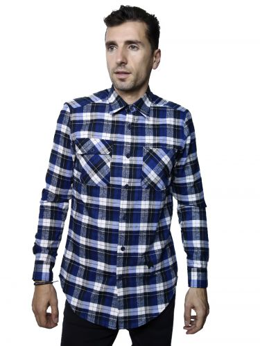 Papilio Garamas check shirt PF-100/02 blue-white-black