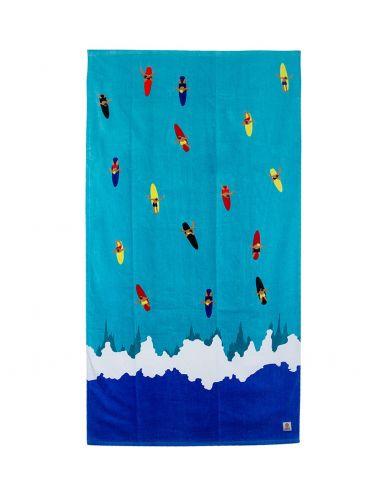 Franklin And Marshall πετσέτα θαλάσσης BTUA946S17 σιέλ-άσπρο μπλε