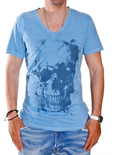 THE PROJECT T-shirt H02222CO754 V SKULL μπλε