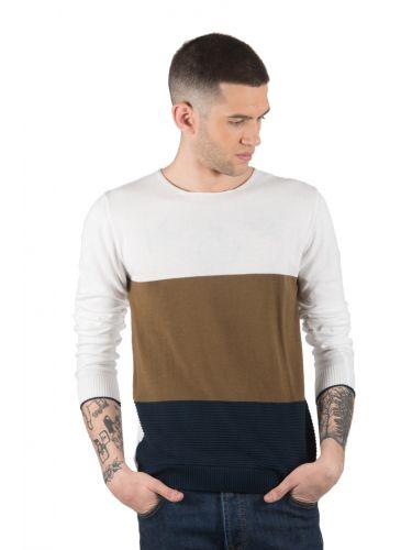 BESILENT MAN μπλούζα BSMA0294 λευκό-καφέ-μπλε