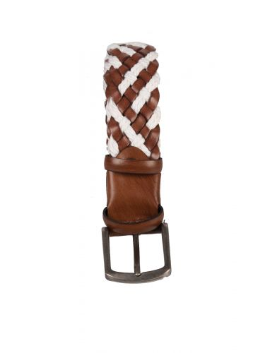 GAD ACCESSORIES leather belt B214 white-brown