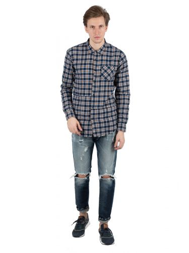 OUTCOME shirt OT130N blue-brown