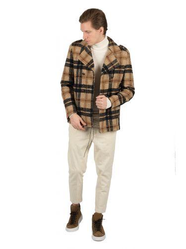 BESILENT MAN coat BSCT0050 beige-black
