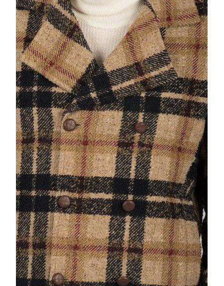 BESILENT MAN παλτό BSCT0050 μπεζ-μαύρο