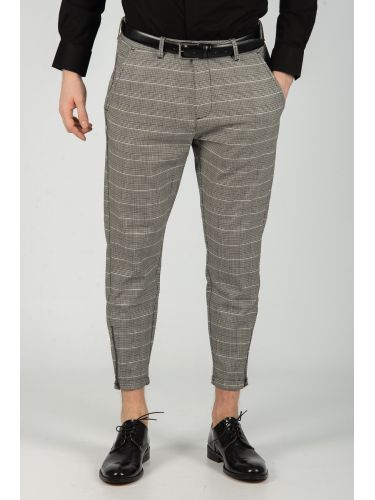 GABBA trouser chino PISA PETIT CHECK P4649 grey