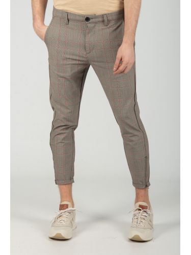 GABBA trouser chino PISA GLOW ROSE CHECK P4655 grey