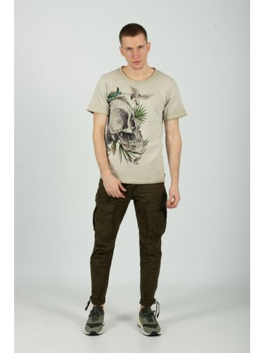 TIGHA t-shirt SKULL IN PARADISE MSN 105258 beige
