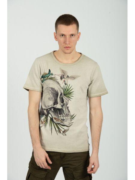 TIGHA t-shirt SKULL IN PARADISE MSN 105258 beige