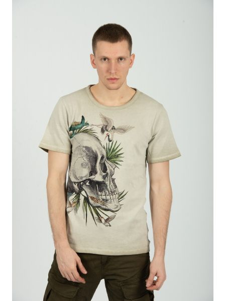 TIGHA t-shirt SKULL IN PARADISE MSN 105258 μπεζ