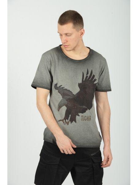 TIGHA t-shirt FEATHER EAGLE MSN 105252 γκρι