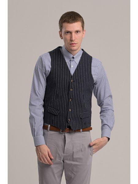 BESILENT MAN vest BSPC0051 blue-white