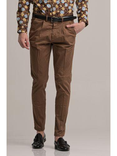BESILENT MAN παντελόνι chino BSPA0389 καφέ