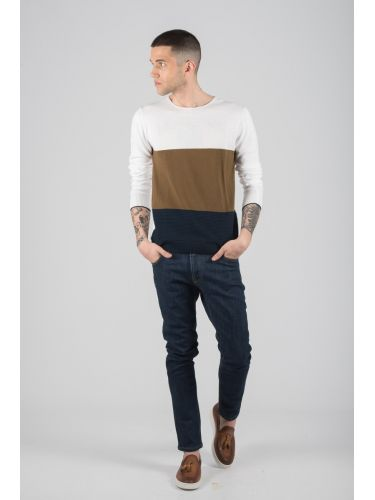 BESILENT MAN blouse BSMA0294 white-brown-blue