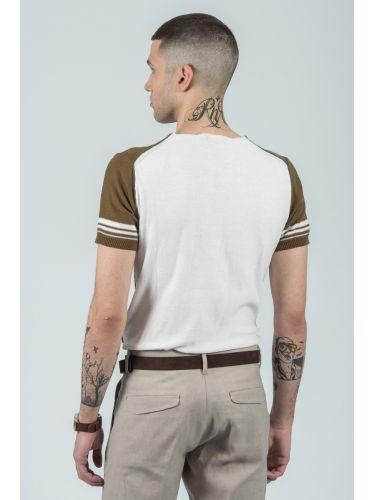 BESILENT MAN t-shirt BSMA0292 λαδί-λευκό
