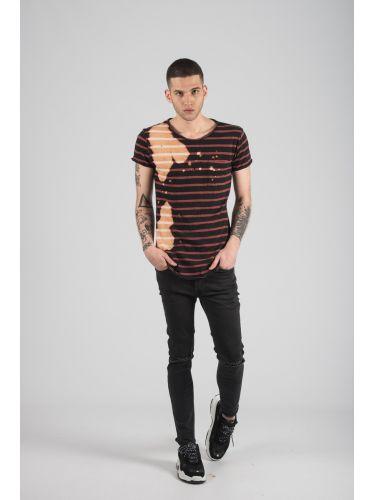 TIGHA t-shirt 103042 LENO STRIPES ACID μαύρο