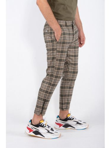 GABBA pants chino PISA CHECK P4965 beige-green