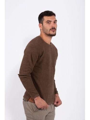 GABBA blouse LAMP O-NECK KNIT P4910 brown