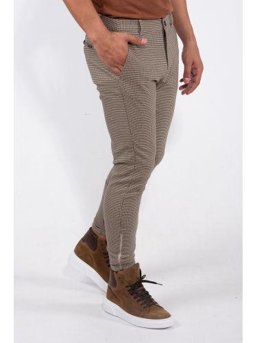 GABBA παντελόνι chino PISA CHECK P4966 μπεζ