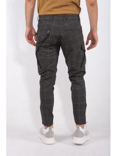 GABBA pants chino PISA CHECK P4840 grey