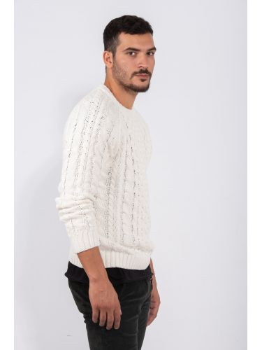 GABBA blouse CHRISTO CABLE KNIT P4920 white