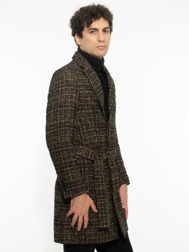 OVER-D παλτό OM404CP μαύρο-μπεζ