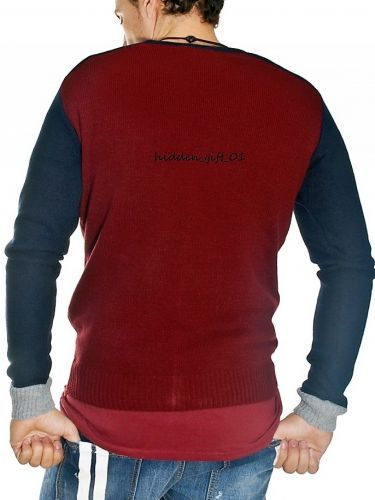 19 Athens knitted cardigan 1911 burgundy grey blue