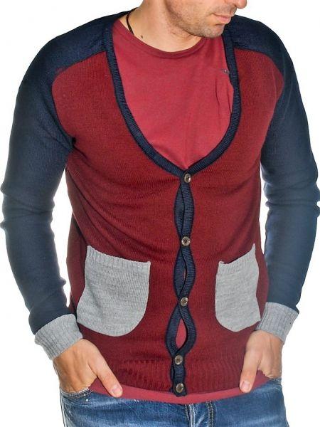 19 Athens knitted cardigan 1911 burgundy grey blue
