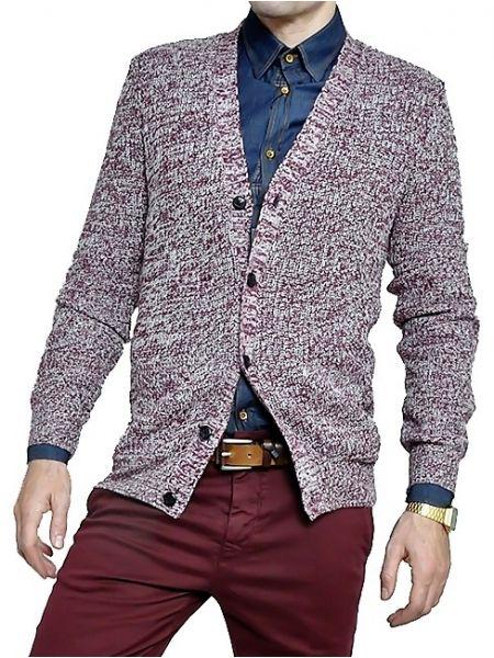 GUYA knit cardigan MA6609UOFW15 burgundy red melange