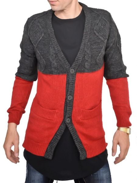 YES LONDON knit cardigan XML3454 grey-red