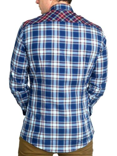 Papilio Garamas checked shirt PG-0031 blue-burgundy