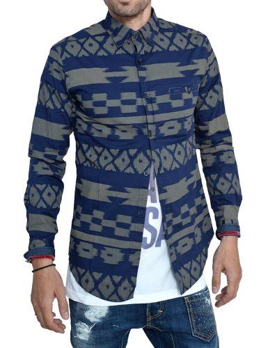 Vittorio Artist πουκάμισο παραλλαγής 141-930 μπλε-χακί