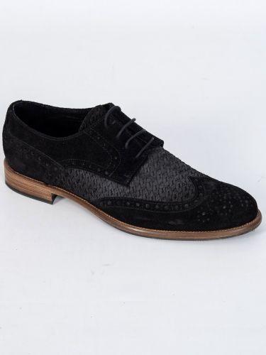 YES LONDON δερμάτινο παπούτσι CM02-CAMOSCIO 352 μαύρο