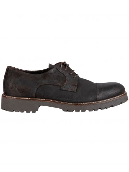 RIVIERA MILANO δερμάτινα παπούτσια GN01-ISC-OLEATA-2160 μαύρα-γκρι σόλα