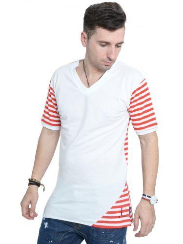 LAK t-shirt MS15134134 λευκό-κόκκινο