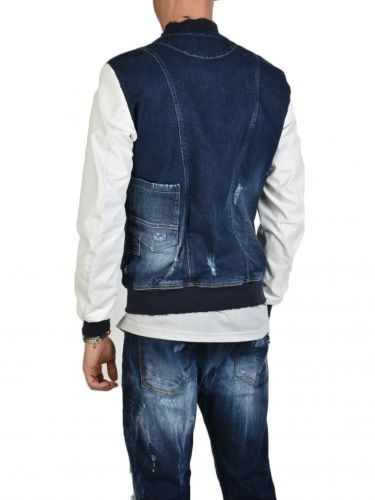 XAGON MAN Jean PBOMBE Jacket DENIM STRECH Blue and White