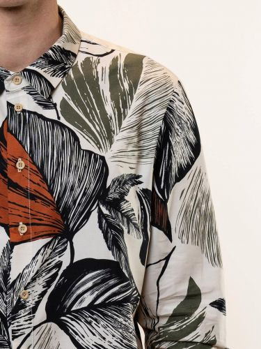 19 ATHENS Shirt K21-1003 Printed - Ecru