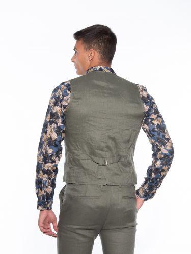 OVER-D Linen vest OM566GL Olive