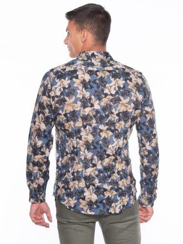 OVER-D Linen shirt OM636CM Floral - Blue - Oil