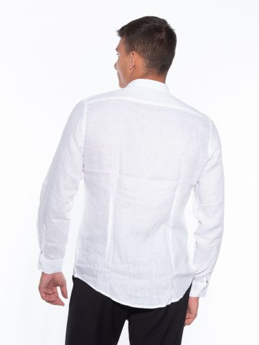 OVER-D Πουκάμισο λινό OM349CM Λευκό