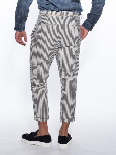 OVER-D Chino striped trousers OM737PN Ecru - Blue