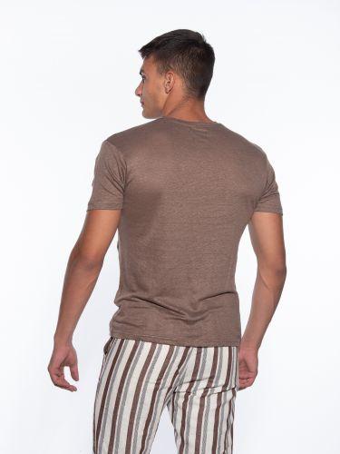 OVER-D T-shirt linen OM804TS Brown