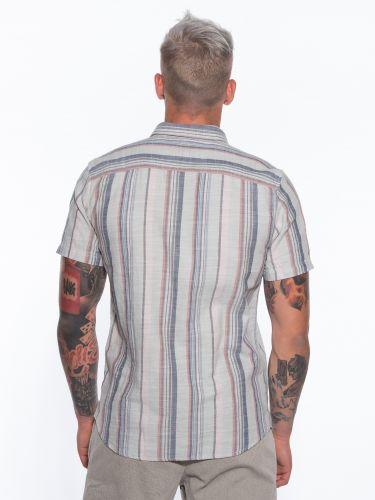 GABBA Short Sleeve Shirt Seoul Vintage Stripes P5203 Peanut - Pink - Gray