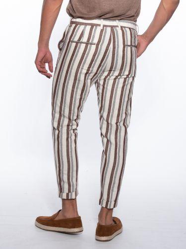OVER-D Chino striped trousers OM702PN Ecru - Brown