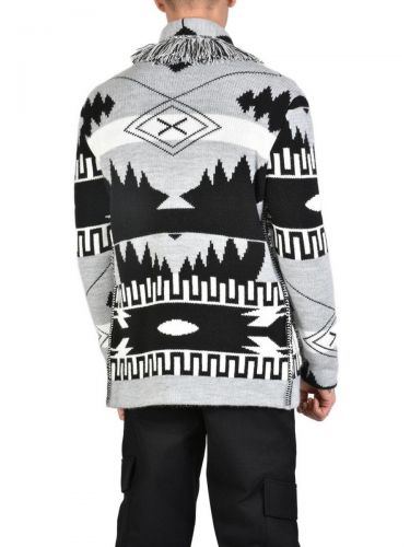 XAGON MAN Knitted cardigan 1EREVE9 Gray - Black
