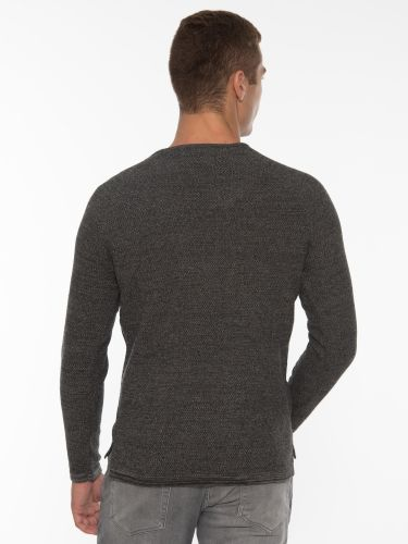 GABBA Knitted Blouse Lamp O-Neck P5733 Gray