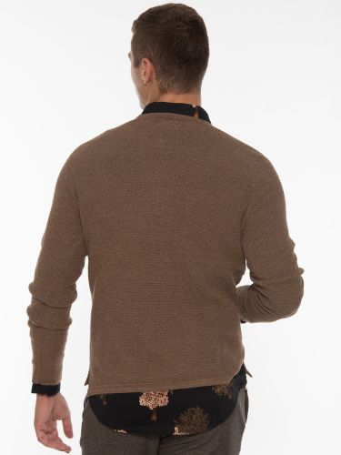GABBA Knitted Blouse O-Neck P5733 Brown