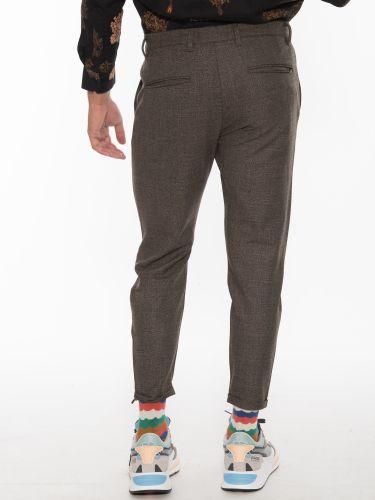 GABBA Chino Plaid trousers PISA Glass Check P5603 Brown