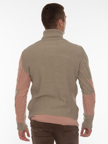 OVER-D Μπλούζα πλεκτή ζιβάγκο OT1F2W1M14 Μπεζ - Ροζ